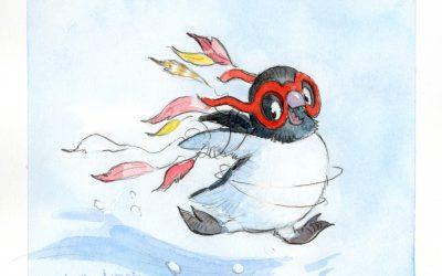 Twitter giveaway – Penguin Flies Home Painting